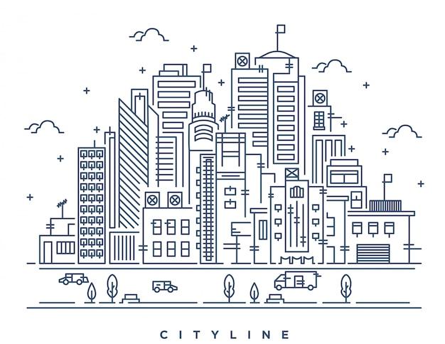 Ilustración de arte lineal de la gran ciudad moderna