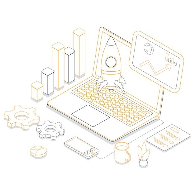 Ilustración de arte lineal del lanzamiento de un cohete en línea desde una computadora portátil conectada con un teléfono inteligente y elementos infográficos en el lugar de trabajo o en blanco