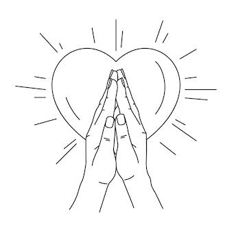 Ilustración de arte lineal manos rezando con forma de corazón.