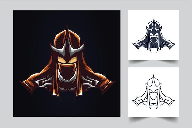 Ilustración de arte ninja samurai esport