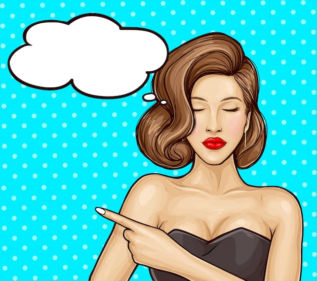 Ilustración de arte pop de una hermosa niña con un vestido de lujo apuntando con el dedo a algo o información sobre una venta, bocadillo. cartel de venta publicitaria, descuentos y servicios.
