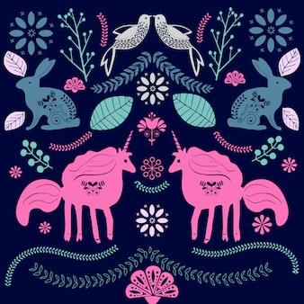 Ilustración de arte popular escandinavo con pájaros y flores