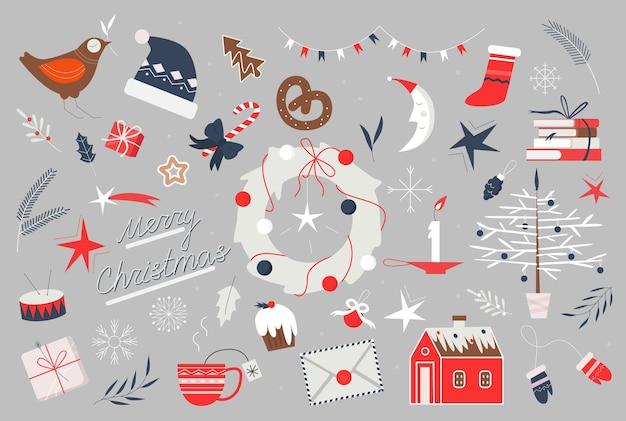 Ilustración de arte popular de vacaciones de navidad feliz.