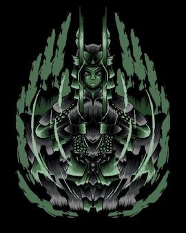 Ilustración de arte de rage undead samurai vector