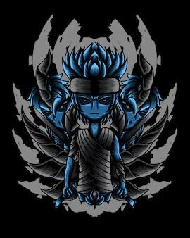 Ilustración de arte del vector de niño samurai no muerto