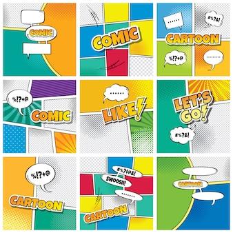 Ilustración de arte de vector de tema de plantilla de cómic de dibujos animados