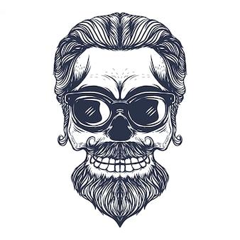 Ilustración de arte vintage cráneo