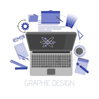 Ilustración de artículos y herramientas de diseño gráfico