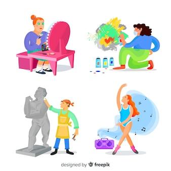 Ilustración de artistas en el trabajo