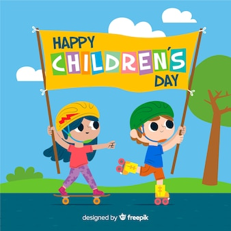 Ilustración artística para el evento del día de los niños.