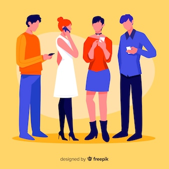 Ilustración artística con personajes con teléfonos