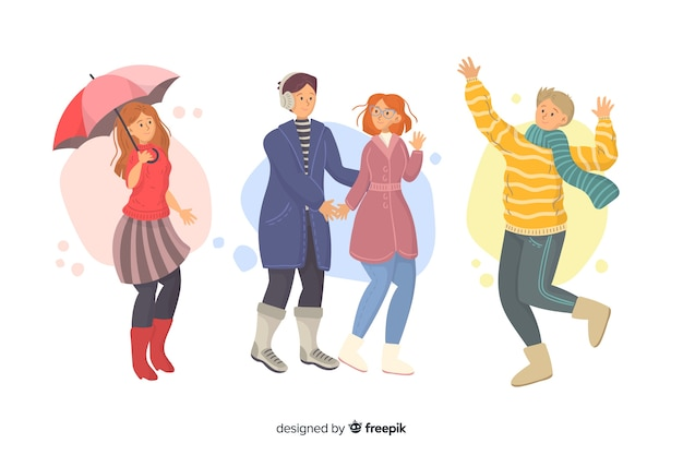 Ilustración artística con ropa de otoño