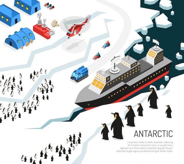 Ilustración de asentamiento de pingüinos rompehielos de la antártida
