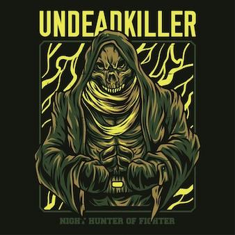 Ilustración de asesino de muertos vivientes
