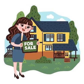 Ilustración de asistencia inmobiliaria con mujer y casa