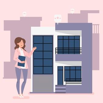 Ilustración de asistencia inmobiliaria con mujer