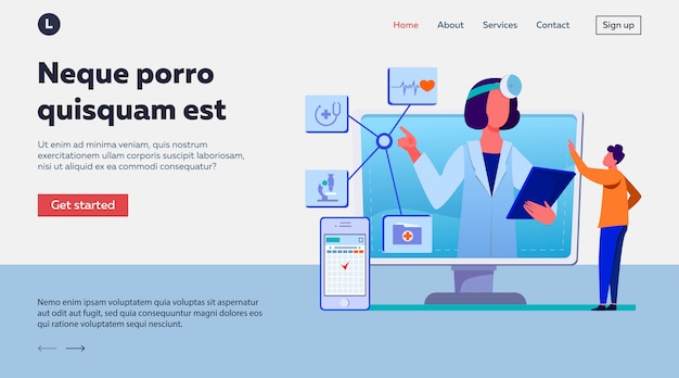 Ilustración de asistencia médica en línea