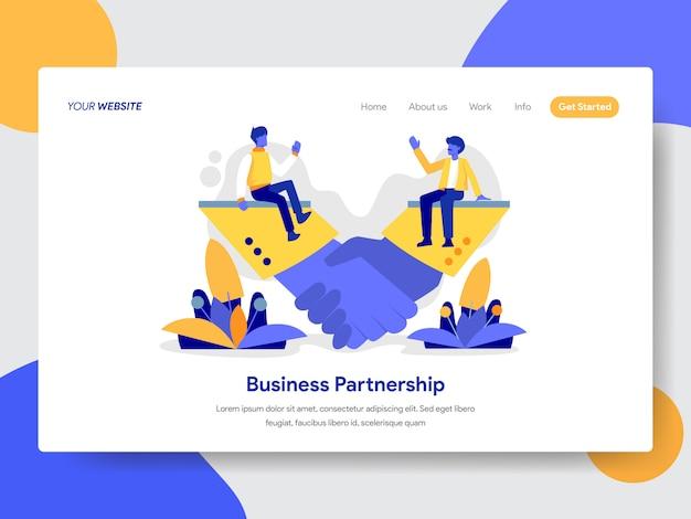Ilustración de la asociación de negocios para la página web
