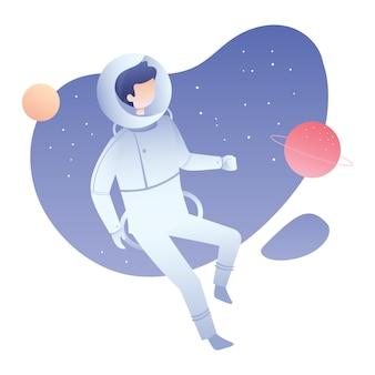 Ilustración de astronauta anti gravedad con estrella espacial y planeta