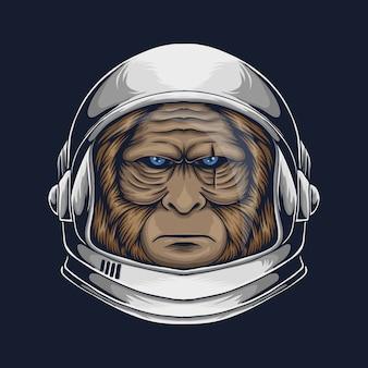 Ilustración de astronauta bigfoot