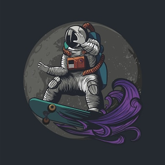 Ilustración de astronauta, cosmonauta pagando monopatín y deporte en el espacio con traje de astronauta