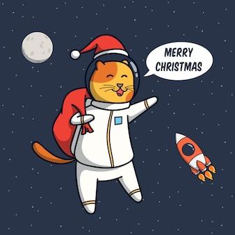Ilustración de astronauta de gato divertido con concepto de navidad