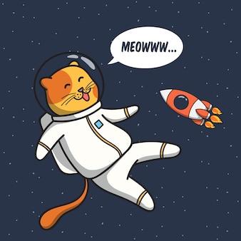 Ilustración de astronauta de gato divertido flotando en el espacio