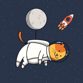 Ilustración de astronauta de gato divertido con globo de luna