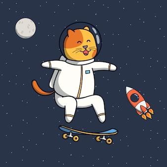 Ilustración astronauta gato divertido jugando patineta
