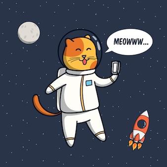 Ilustración de astronauta de gato divertido con pose de selfie