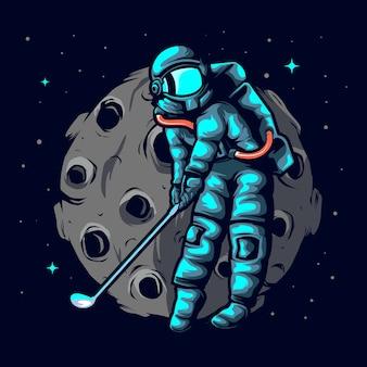 Ilustración astronauta golf