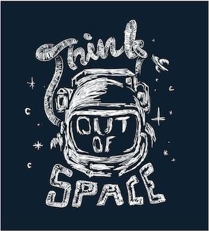 Ilustración de astronauta con lema