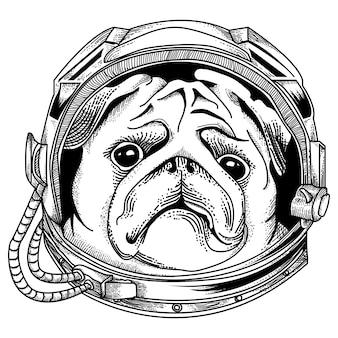 Ilustración astronauta perro premium
