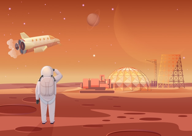 Ilustración del astronauta de pie en la colonia de marte y mirando a la nave espacial voladora.