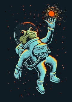 Ilustración de astronauta de rana espacial