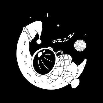 Ilustración de astronauta sueño lineart