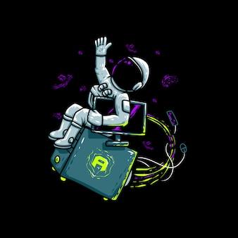 Ilustración de astronauta volador