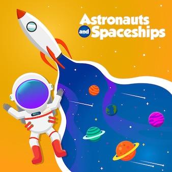 Ilustración de astronautas y naves espaciales