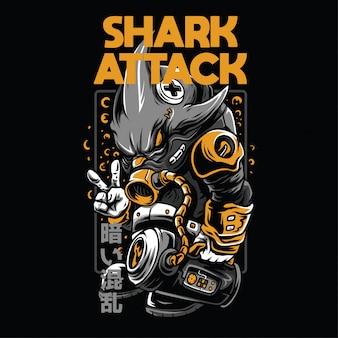 Ilustración de ataque de tiburón
