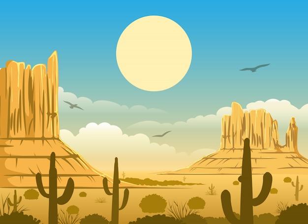 Ilustración del atardecer del desierto mexicano