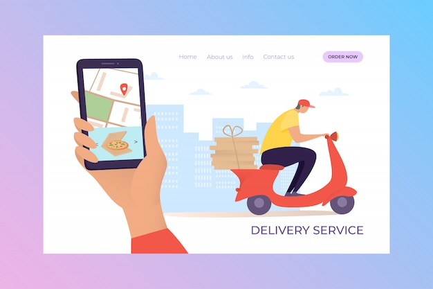 Ilustración de aterrizaje móvil de servicio de entrega. pida pizza en casa a través de la aplicación en su teléfono inteligente o computadora.