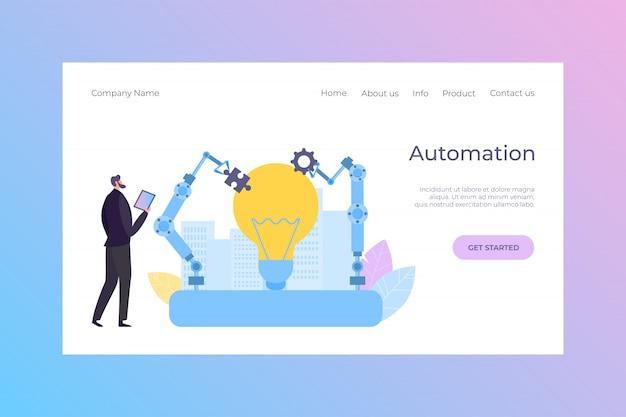 Ilustración de aterrizaje de robot de automatización de control de gerente. equipo de ingeniería inteligente, tecnología automatizada de dibujos animados.