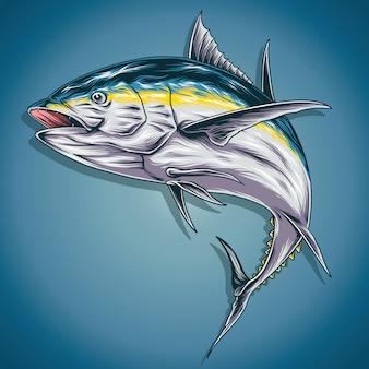 Ilustración de atún de pescado amarillo