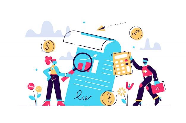 Ilustración de auditoría mini personas examen independiente sistemático.