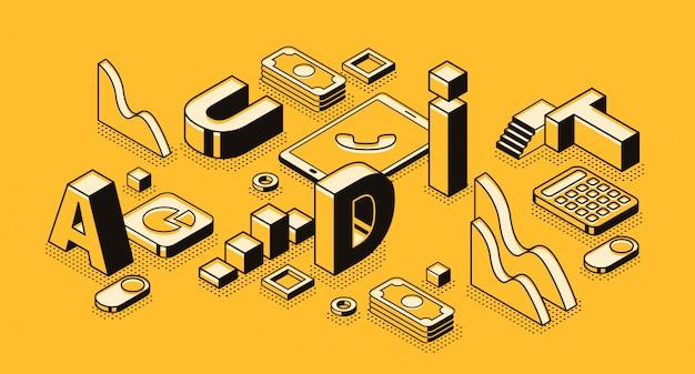 Ilustración de auditoría de negocios en diseño de letras y líneas finas negras isométricas.