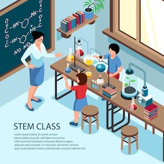 Ilustración del aula de la escuela y niños haciendo experimentos de laboratorio con el maestro.
