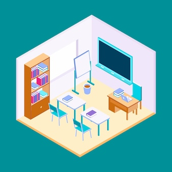 Ilustración de aula isométrica