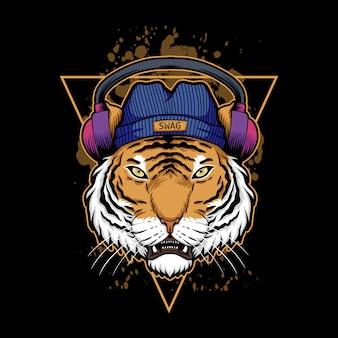 Ilustración de auriculares tiger
