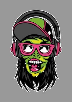 Ilustración de auriculares zombie en dibujado a mano