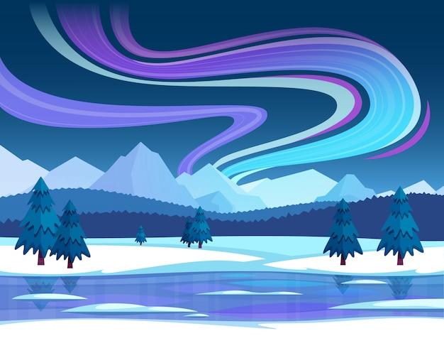 Ilustración de la aurora boreal